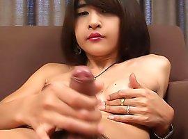 See stunning Thai ladyboy slapping her cock