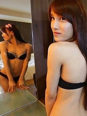 Petite Thai Ladyboy with big cock loves foreign penis