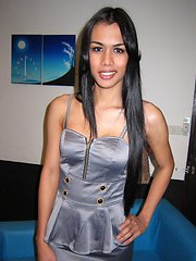 Silver Dress Bareback Ladyboy Karn bj and silver dress bareback