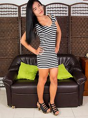 Nina is an authentic student, she's the typical young ladyboy next door.