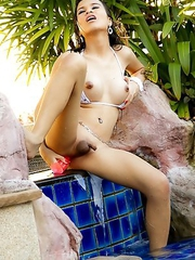 Wet bikini anal in the pool with gorgeous Ladyboy Bell