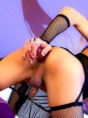 Pink ribbed dildo slides deep inside the tight ass of Ladyboy Alis