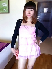 23 year old Thai shemale Bee does POV blowjob and licks up the cum