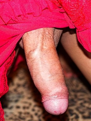 Ladyboy Boss gives a slow, sensual blowjob and handjob before getting a bareback creampie! Boss is barefoot and wearing red negligee lingerie. She lov
