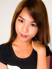 Yeen is an adorable and petite 19 year old ladyboy from Bangkok. She has an all natural body, tiny hormone tits, the cutest eyes, a small round and fi