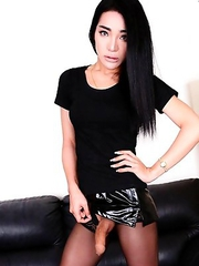 Watch this hot tgirl Yuri seduce her way to your cocks wearing only her stockings. She may be skinny but she has big tits and a big hard cock that wil