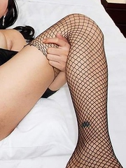 Tata pulls up her tight little sheer black dress with no panties on to show her tasty little asshole ready for action