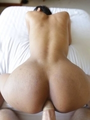 Sexy Thai ladyboy Samy gets load shot all over her by white stud