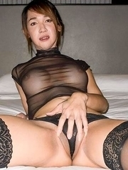 Nanny is wearing a sheer black blouse with matching panties and hose. I can't help but immediately begin groping her luscious tits under her blou