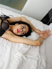 21yo sexy Thai ladyboy Sweetie sucks off big white cock