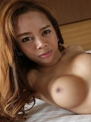 Smoking Thai ladyboy Mond gets cum covered after getting ass reamed
