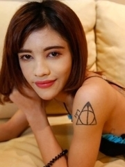 Petite 18yo Thai ladyboy Jubjang gets her ass stretched wide by fat white cock