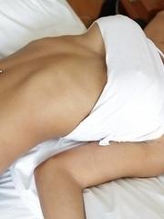 Hot Thai ladyboy Leeya gets herself a big white cock