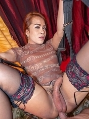 Ladyboy Nut sucks and jerks it as she strokes herself until she cums. Then the POV fucks her more, pulls out, and coats her asshole in sperm.