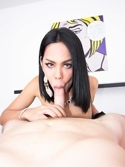 Ladyboy Lanta lowers her dress a little to play with her full breasts and spreads her legs open, showing her cock underneath her panties. The POV oils