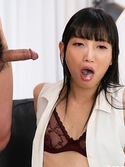 Cock Locked Kaoru Hanayama Horny Blowjob together with Cum Acquisition bargain