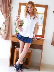 Upskirt cock and panties with blonde Femboy schoolgirl Beer